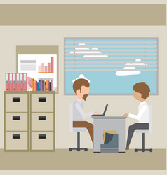 interviewing an employee in the office vector image
