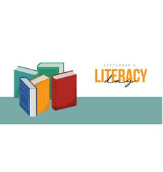 Literacy day web banner book pile cartoon concept vector