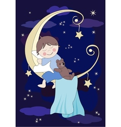 Little baby and teddy sleeps on the moon vector image