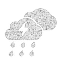 Mesh thunderstorm clouds icon vector