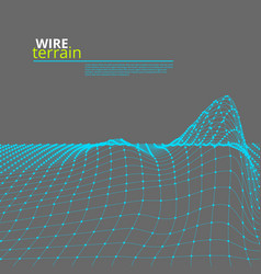 mesh wire polygonal terrain surface on gray vector image