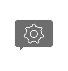 Message with gear wheel faq technical assistance vector