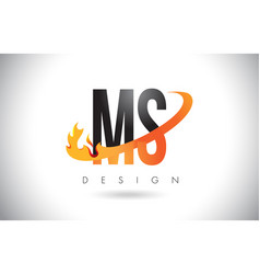 Ms m s letter logo with fire flames design and vector