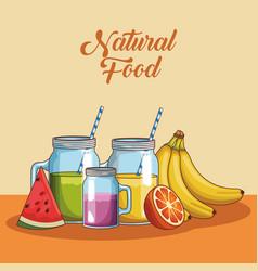 naural food cartoons vector image