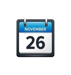 November 26 calendar icon vector