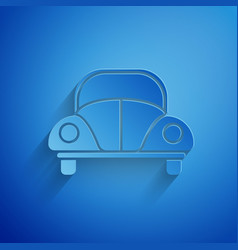 Paper cut car volkswagen beetle icon isolated on vector