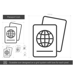 Passport line icon vector