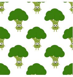 pattern with cartoon broccoli vector image