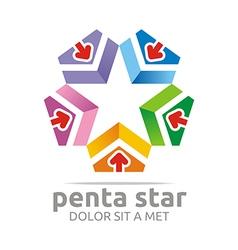 penta house arrow design icon symbol star vector image