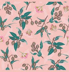 pink gumnuts and eucalyptus blossom seamless vector image