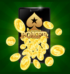 poker in phone and gold coins vector image