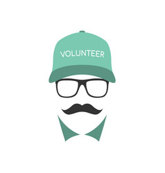 portrait of volunteer man wearing glasses vector image