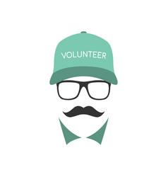 Portrait volunteer man wearing glasses vector