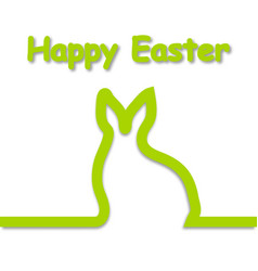 rabbit outline with text happy easter vector image