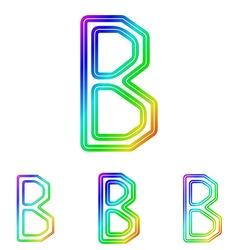 Rainbow b letter logo design set vector