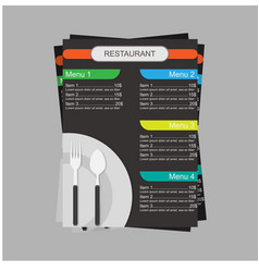 resturant menu with cutlery flat concept design vector image