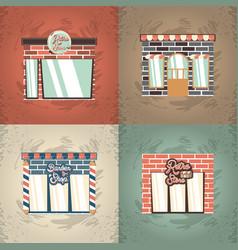 retro store building facade exterior set vector image
