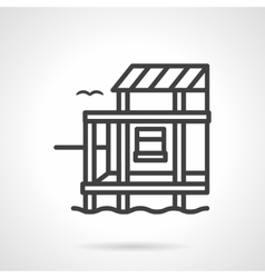 Riverside cottage black line design icon vector image