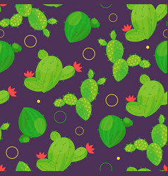 seamless pattern of abstract cacti with dots on vector image
