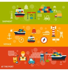 Seaport Banner Set vector
