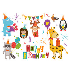 Set of isolated funny animals happy birthday vector