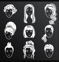 set of white women avatar hairstyles vector image