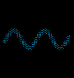 sinusoid wave collage icon of halftone bubbles vector image