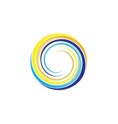spiral circle wave sun and water ocean logo vector image