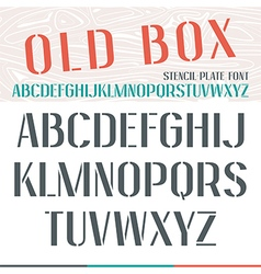 Stencil plate narrow font vector