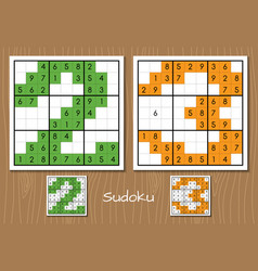 Sudoku game with the answers 2 3 numbers vector