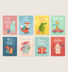 travel animals card set hand drawn style vector image