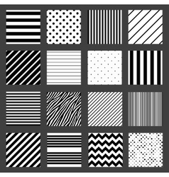 Unusual black white striped pattern set vector image