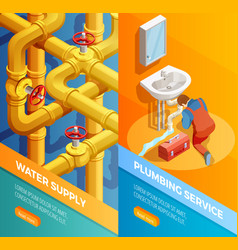 Waters supply plumbing service isomertic banners vector