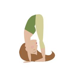 Woman doing yoga cartoon vector