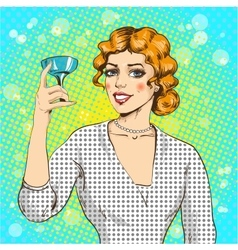 woman with cocktail in pop vector image