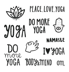 Yoga quotes set of hand drawn lettering vector