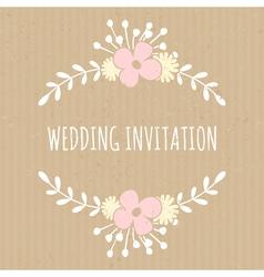 flowers and laurels romantic wedding design card vector image