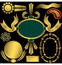 golden elements and frames vector image