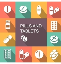 Pills and Tablets colored icons flat style vector image vector image