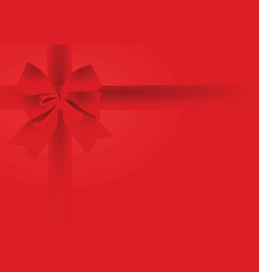 red bow on red background vector image vector image