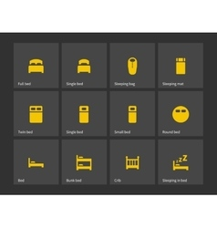 Double and single bed icons vector