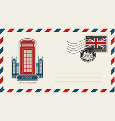 envelope with london telephone booth and uk flag vector image