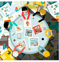 people around circle table on paperwork vector image