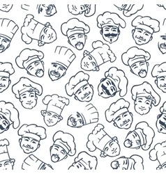 Seamless chefs and bakers in toques pattern vector