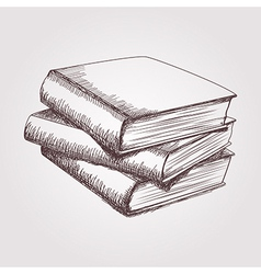 sketch of books stack vector image