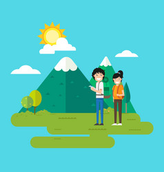 woman and man walking in the forest vector image vector image