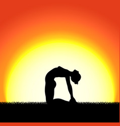 yoga ustrasana pose black silhouette on sunset vector image vector image