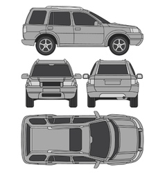 Car truck suv 4x4 line draw rent damage vector image vector image