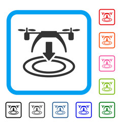 copter landing framed icon vector image vector image