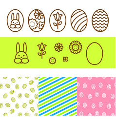 easter outline egg icons vector image vector image